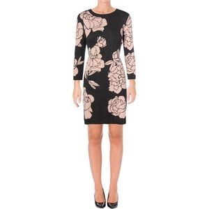 Calvin Klein floral gray and pink sweater dress